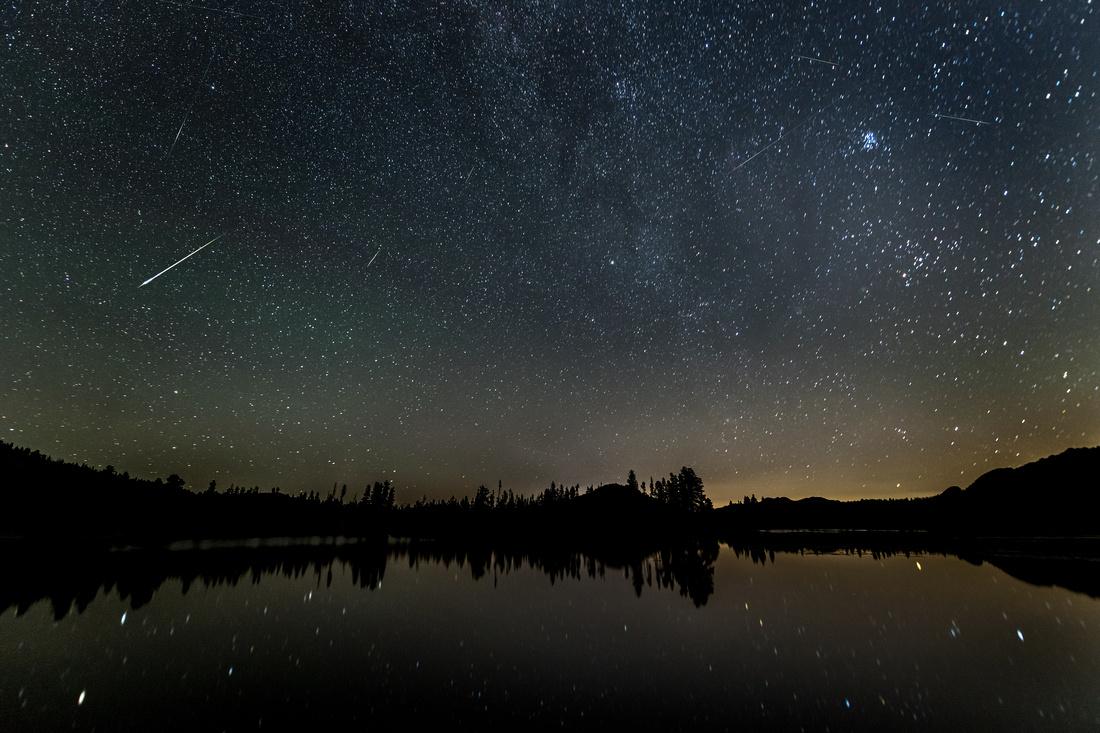 Perseid Meteors above Sprague Lake
