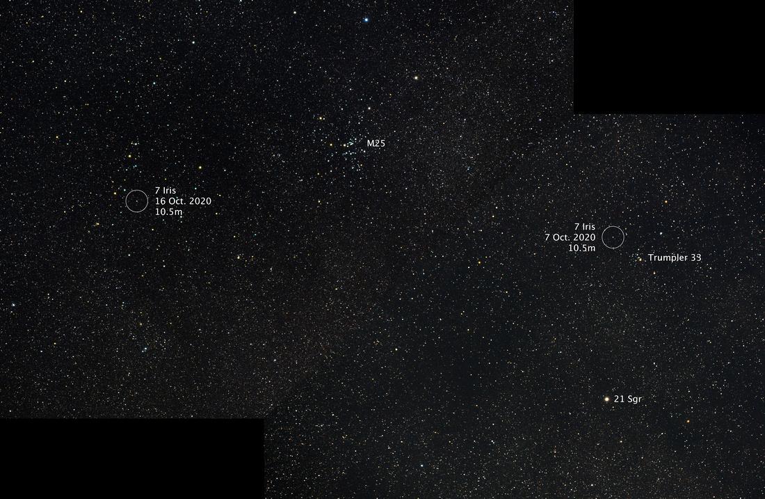 Asteroid 7 Iris, October 2020